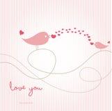 Love card with birds Stock Photos