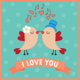 Love card with birds in love. Vector illustration Stock Image