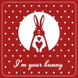 Love card with bunny and hearts Royalty Free Stock Photos