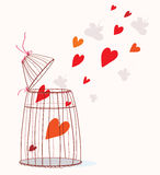 Love card with cage and heart. Freedom concept Royalty Free Stock Photos
