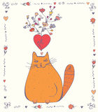 Love card with cat Royalty Free Stock Photography