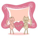 Love card with cat Stock Images