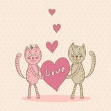 Love card with cat Stock Photography
