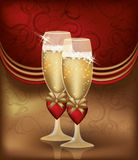 Love card with champagne Stock Photos