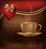 Love card with coffee and heart, Stock Photos