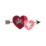 Love card with cupid angel Stock Photos