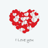 Love card with cut paper heart Royalty Free Stock Photos