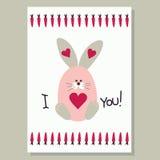 Love card with cute banny. Love card vector illustration with cute banny Stock Photos