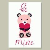 Love card with cute bear. Love card vector illustration with cute bear Stock Photo