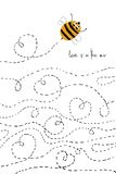 Love Card With Cute Bee. Love greeting card with flying cute enamored bee. Funny poster or card for birthday, save the day, wedding, Valentine`s day Royalty Free Stock Images
