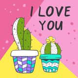 Love card with cute cacti Stock Images