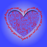 Love card. Deep blue red heart design with abstract  pattern. Royalty Free Stock Photography