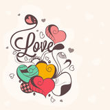 Love card design for Happy Valentines Day celebration. Beautiful love card design with floral decorated hearts for Happy Valentines Day celebration Royalty Free Stock Images