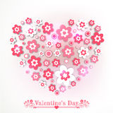 Love card design for Happy Valentines Day celebration. Love card design with heart shape made by flowers on grey background for Happy Valentines Day celebration Royalty Free Stock Photography