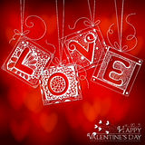 Love card. Doodled cards with letters. Hand - drawn cards with various floral and geometrical patterns with letters forming word Love on red bokeh background Royalty Free Stock Photos