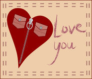 Love card with fashion heart. Card with zip heart and love message Royalty Free Stock Photos