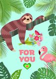 Love card. Flamingo and sloth with a bouquet. Tropical vector illustration. Love card. Flamingo and sloth with a bouquet. Tropical vector illustration Stock Photo
