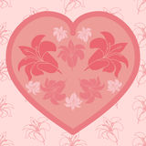 Love card with floral bouquet. Valentine's Day vector illustration Royalty Free Stock Photography