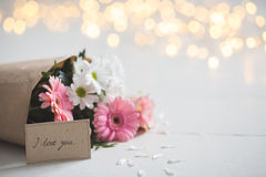 Love card and flowers Stock Images