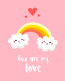 Love card with funny clouds and rainbow on pink background. You are my love. Comics style. Vector.  Royalty Free Stock Photos