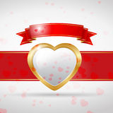 Love card gold with ribbon Stock Photography