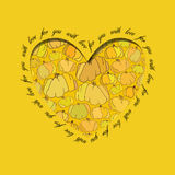 Love card. Golden heart design with pumpkin pattern. Stock Image