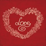 Love card with hand drawn floral heart Royalty Free Stock Photos