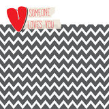 Love card with heart on modern chevron background Royalty Free Stock Photo