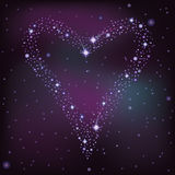 Love card, heart of the  stars. In the night sky, vector illustration Royalty Free Stock Images