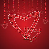 Love card with hearts shape concept in red color Royalty Free Stock Image