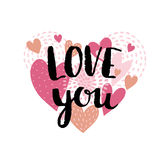 Love card with hearts and stylish ink lettering `Love you`. Love background for Valentine`s day. Vector illustration. Stock Images