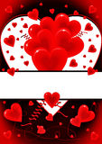 Love card with hearts symbols. Beautiful happy Valentine's card with hearts Stock Photo