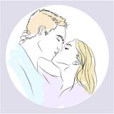 Love card with kissing couple. NLove card with kisses with a kissing pair in gentle colors Royalty Free Stock Image