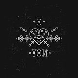 Love card with line romantic and abstract elements. Vector lines, heart, font on black background with grunge texture. Hipster style royalty free illustration
