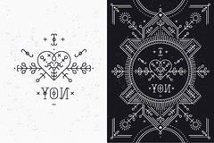 Love card with line romantic and abstract elements. Vector lines, heart, typography on black background with grunge texture. Hipster style royalty free illustration