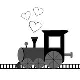 Love card with locomotive and dotted hearts Royalty Free Stock Photo