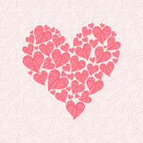 Love card made of red hearts on pink background Stock Images