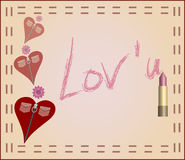 Love card message in zip heart. Make-up, flowers, hearts with zips and pockets on card with love message Stock Photos