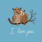 Love card with owls Royalty Free Stock Photography