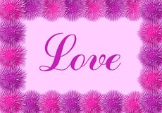 Love card with pink flowers. For Valentine's Day Royalty Free Stock Photos