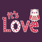 Love card or poster template with cute owl. Retro style illustration with cute little owl for Valentine's Day, love cards or posters Royalty Free Stock Image