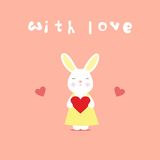 Love card, rabbit with heart Stock Images