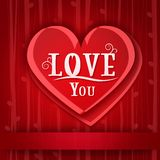 Love card with red hearts Royalty Free Stock Photography