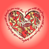 Love card. Red and orange heart design with abstract  pattern. Royalty Free Stock Photos