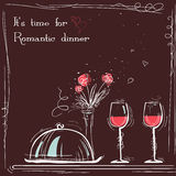 Love card romantic dinner.Vector sketch illustration Stock Photos