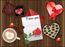 Love card with a rose and coffee Royalty Free Stock Photos