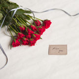 Love card and roses Stock Photos