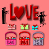 Love card, Silhouette man and woman with gift basket Stock Images