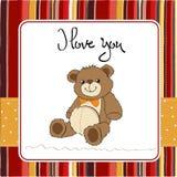 Love card with a teddy bear Stock Photos