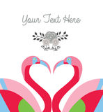 Love card template two flamingo make heart shape Stock Photo